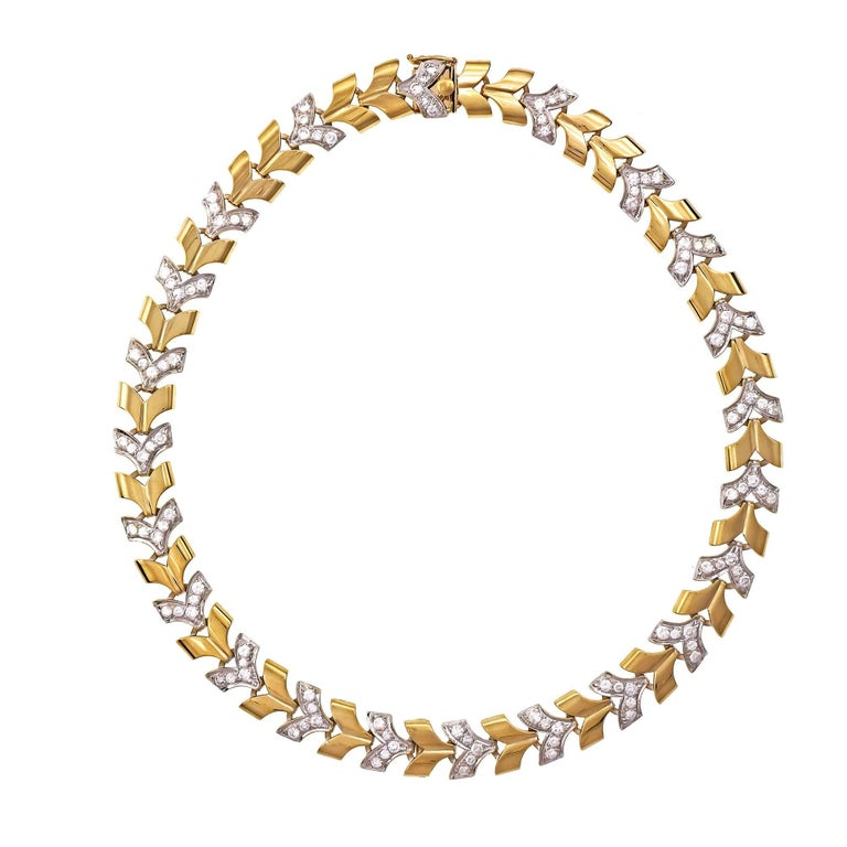 "3.30 Carat Diamond ""V"" Two-Tone Gold Link Necklace"