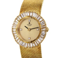 Universal Geneve Ladies yellow Gold Diamond Baguette Bezel Quartz Wristwatch