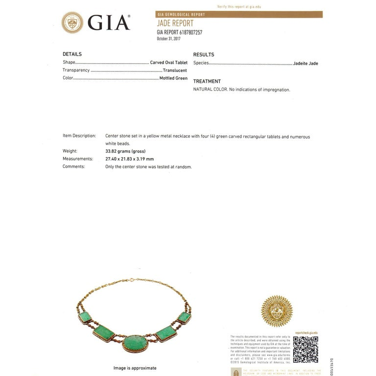 GIA Certified Natural Jadeite Jade Pearl Gold Necklace For Sale 2