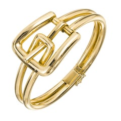 Midcentury Gold Buckle Bangle Bracelet