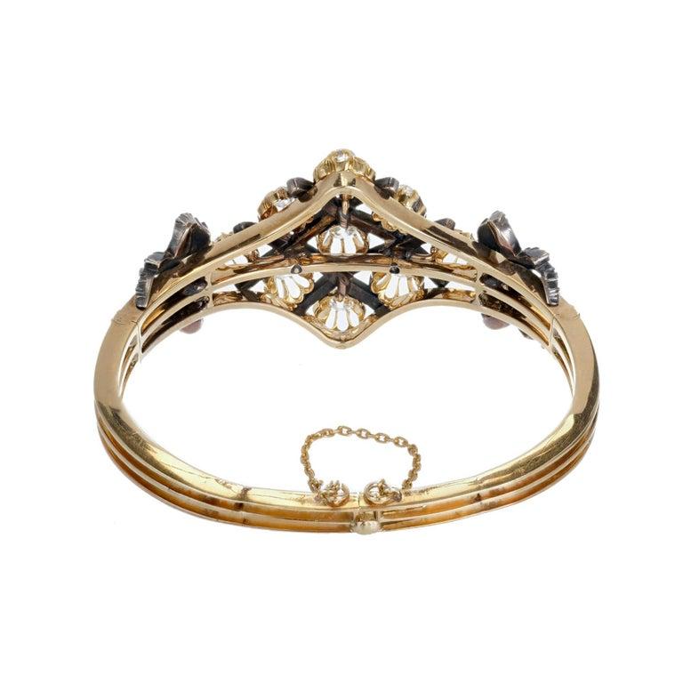 5.32 Carat Victorian Diamond Silver Gold Bangle Bracelet 4