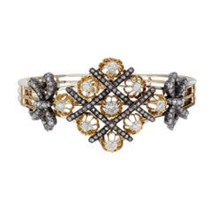 1860's 5.32 Carat Victorian Diamond Silver Gold Bangle Bracelet