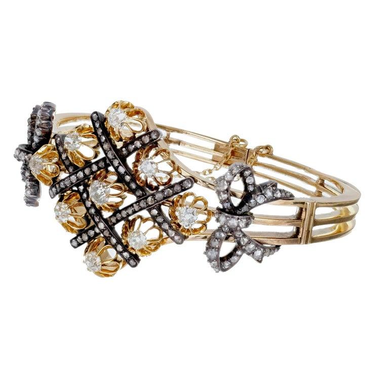5.32 Carat Victorian Diamond Silver Gold Bangle Bracelet 2