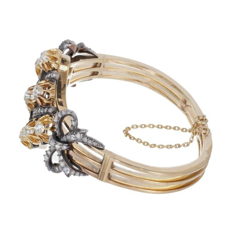 5.32 Carat Victorian Diamond Silver Gold Bangle Bracelet 5