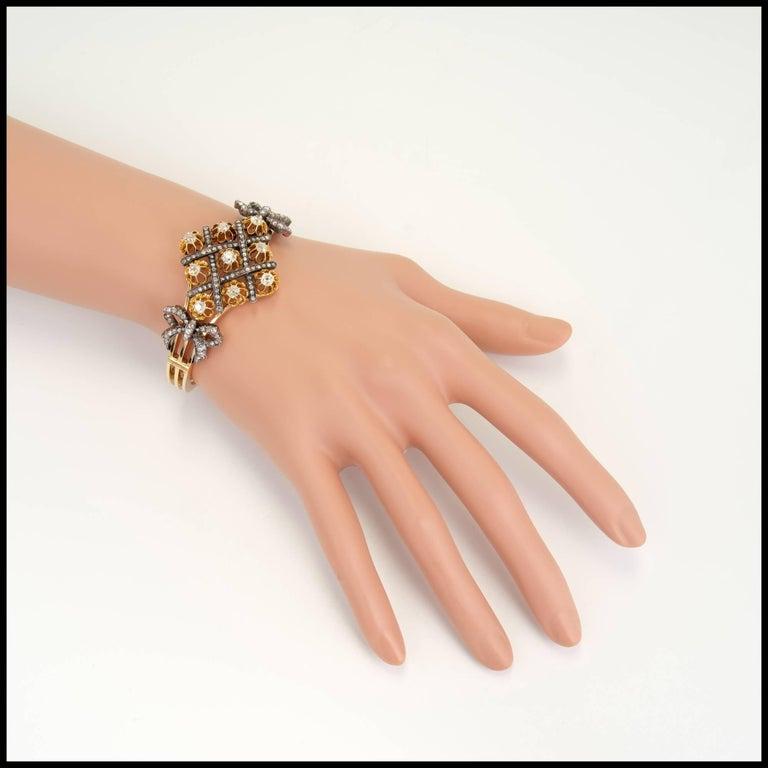 5.32 Carat Victorian Diamond Silver Gold Bangle Bracelet 6