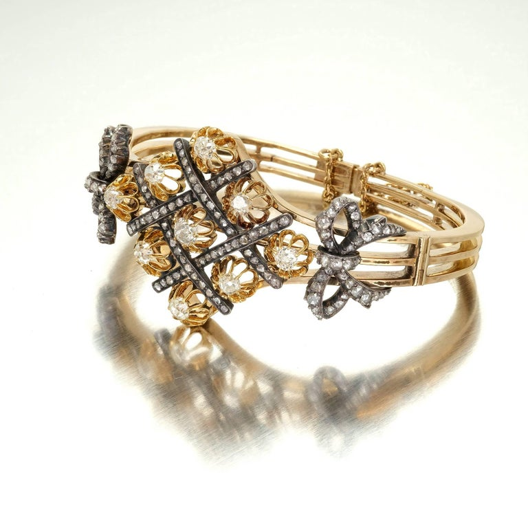 5.32 Carat Victorian Diamond Silver Gold Bangle Bracelet 3