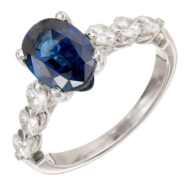 Peter Suchy 2.27 Carat Blue Oval Sapphire Diamond Platinum Engagement Ring