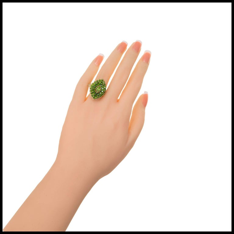 Women's 3.00 Carat Tsavorite Garnet Gold Cluster Cocktail Ring For Sale
