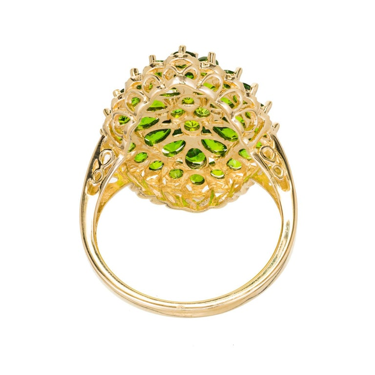 3.00 Carat Tsavorite Garnet Gold Cluster Cocktail Ring For Sale 4