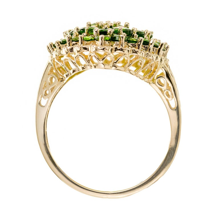 3.00 Carat Tsavorite Garnet Gold Cluster Cocktail Ring For Sale 5
