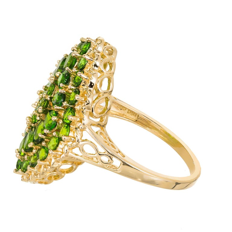 3.00 Carat Tsavorite Garnet Gold Cluster Cocktail Ring For Sale 3