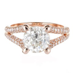 Peter Suchy EGL Certified 2.32 Carat Diamond Rose Gold Engagement Ring