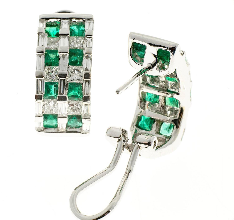 Emerald Diamond Gold Hoop Earrings For Sale at 1stdibs