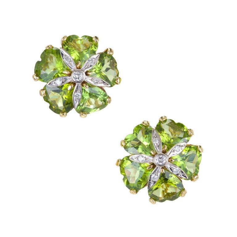 15.00 Carat Heart Shaped Peridot White Diamond Gold Clip Post Earrings