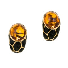 Citrine Black Enamel Gold Curved Clip Post Earrings