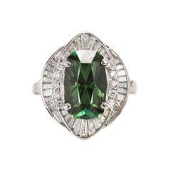 4.11 Carat Green Tourmaline Diamond Halo Platinum Cocktail Ring