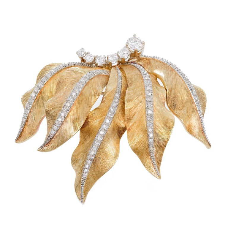 Diamond Textured Gold Leaf Brooche