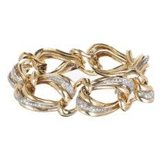.85 Carat Pave Diamond Gold Swirl Link Bracelet