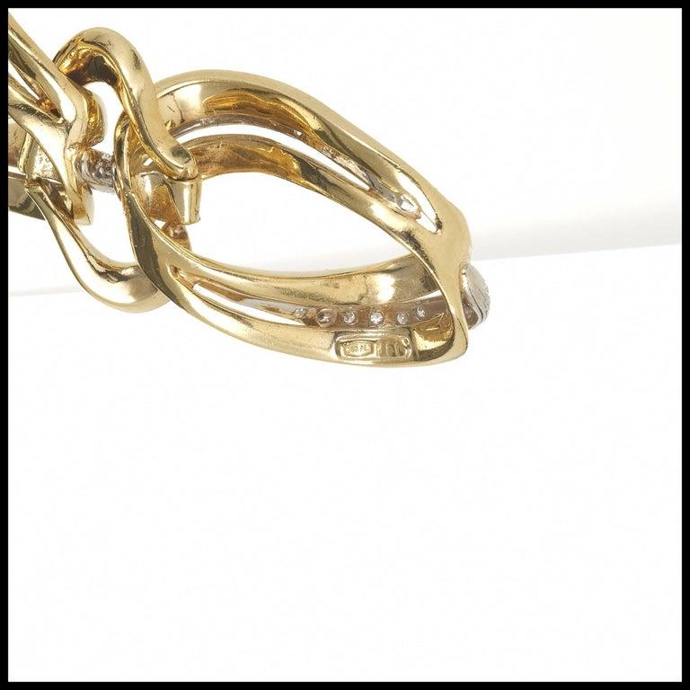 .85 Carat Pave Diamond Gold Swirl Link Bracelet 6