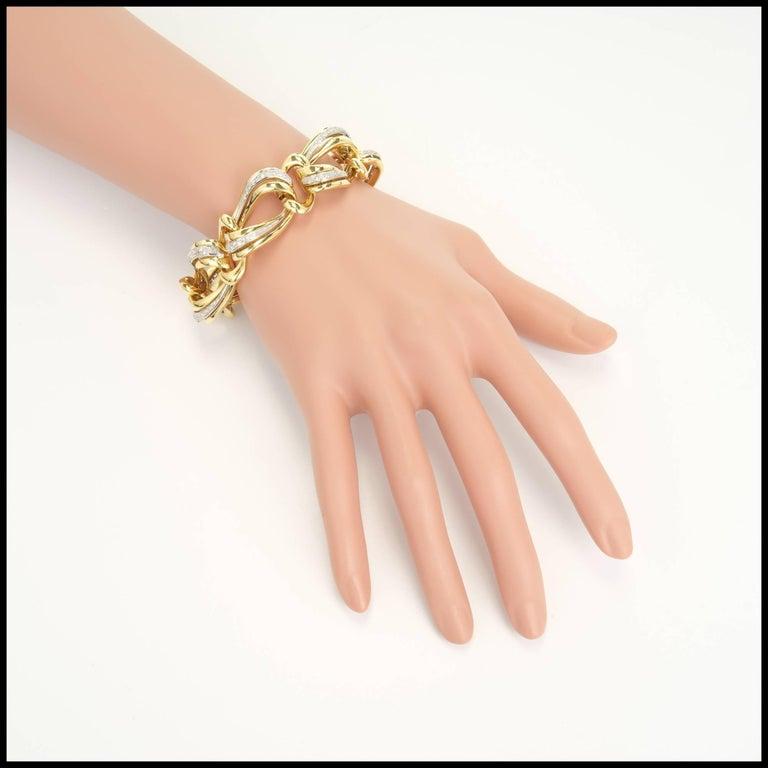 .85 Carat Pave Diamond Gold Swirl Link Bracelet 5