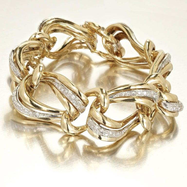 .85 Carat Pave Diamond Gold Swirl Link Bracelet 2