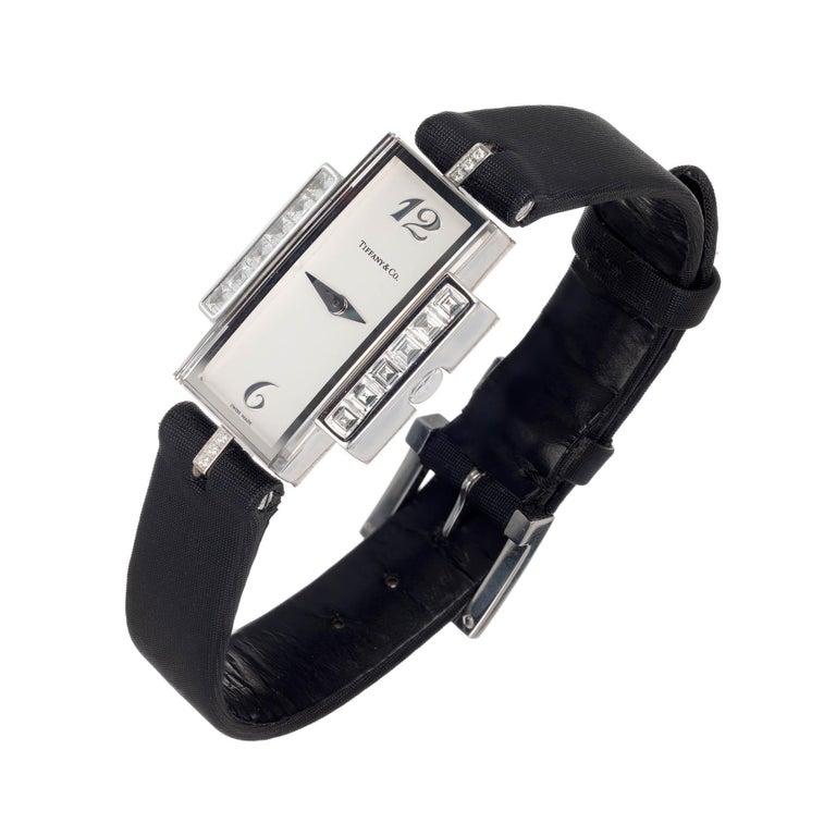 Tiffany & Co Lady's Diamond White Gold Wristwatch For Sale