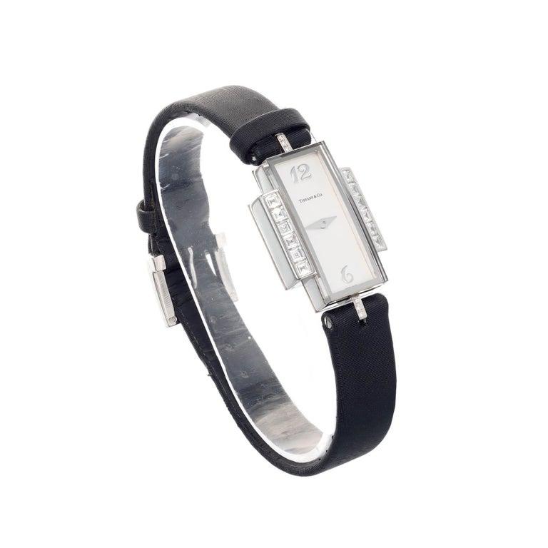 Round Cut Tiffany & Co Lady's Diamond White Gold Wristwatch For Sale