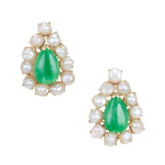 Natural  Pear Shaped Jadeite Jade Natural Pearl Gold Clip Post Earrings