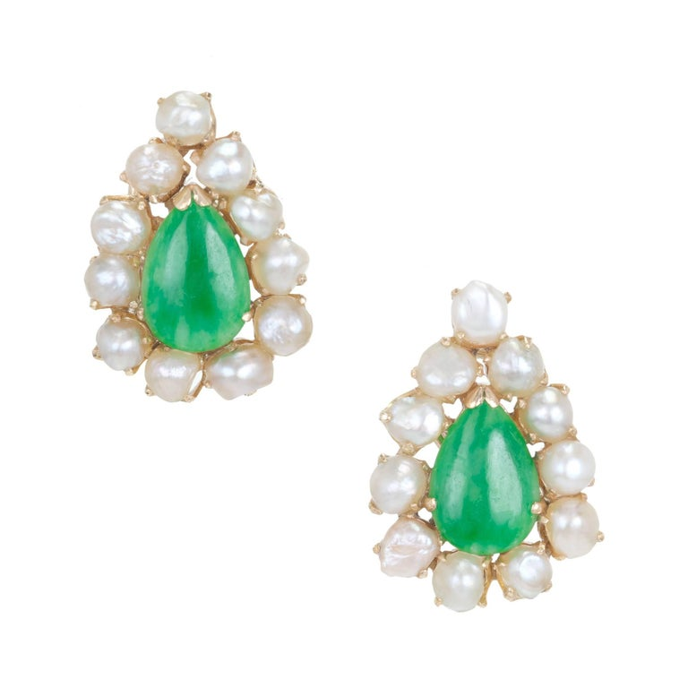 Natural Pear Shaped Jadeite Jade Pearl Gold Clip Post Earrings For