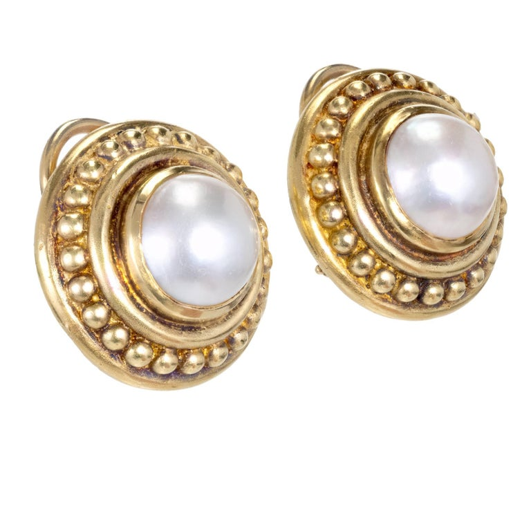 Judith Ripka 18k Yellow Gold Clip Post Mabe Pearl Earrings 2 Fine White Pearls