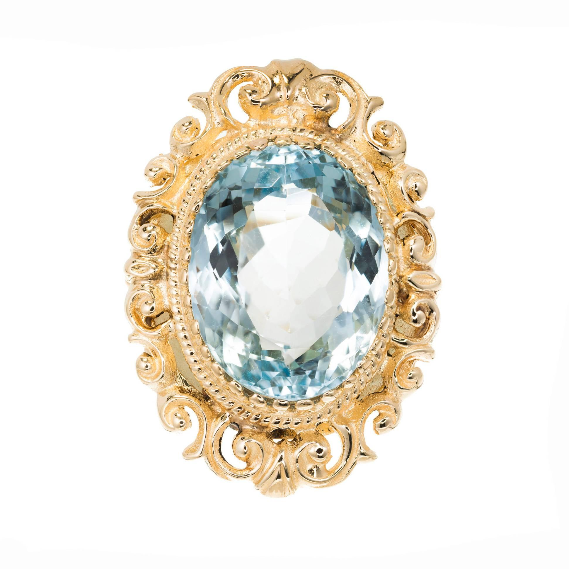 18.00 Carat Oval Bright Blue Topaz Gold Cocktail Ring