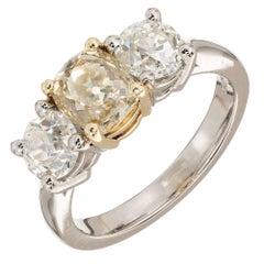 Peter Suchy 2.78 Carat Three-Stone Fancy Yellow Diamond Platinum Engagement Ring
