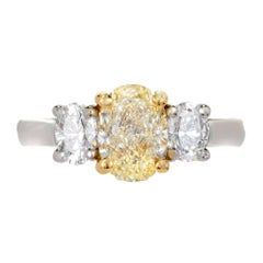 Peter Suchy EGL Certified 1.58 Carat Three-Stone Diamond Gold Engagement Ring