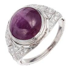 GIA Certified 5.85 Carat Natural Star Ruby Diamond Platinum Ring