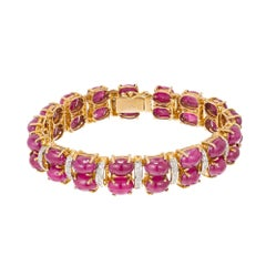 Oval Cabochon Ruby Diamond Gold Hinged Bracelet