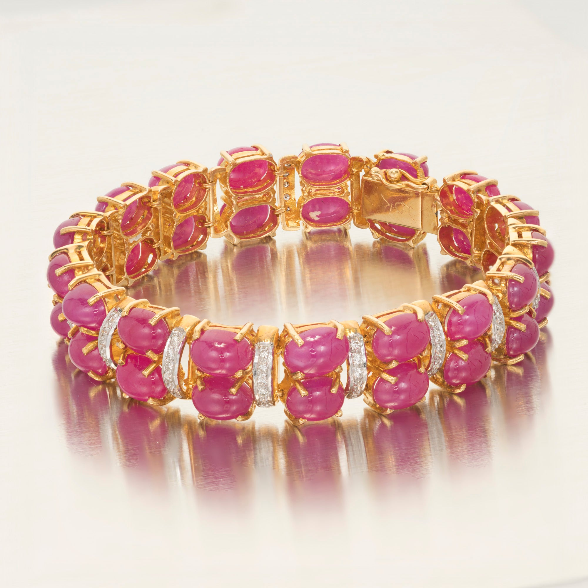 real ruby diamond gold carat white and bracelet