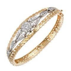 .86 Carat Diamond Pierced Engraved Gold Hinged Bangle Bracelet