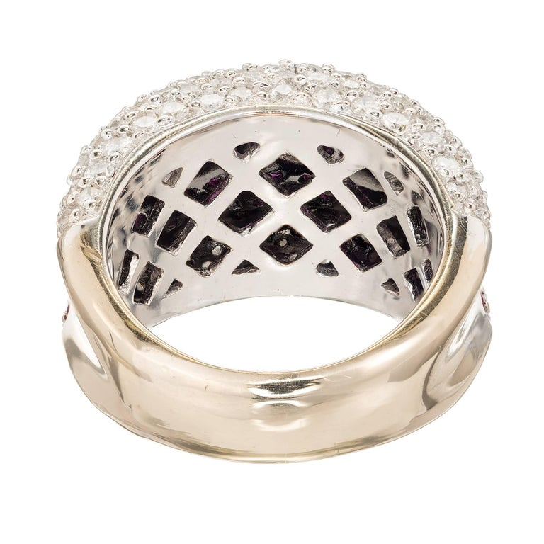 Women's Sonia B Ruby Diamond Gold Dome Cocktail Band Ring For Sale