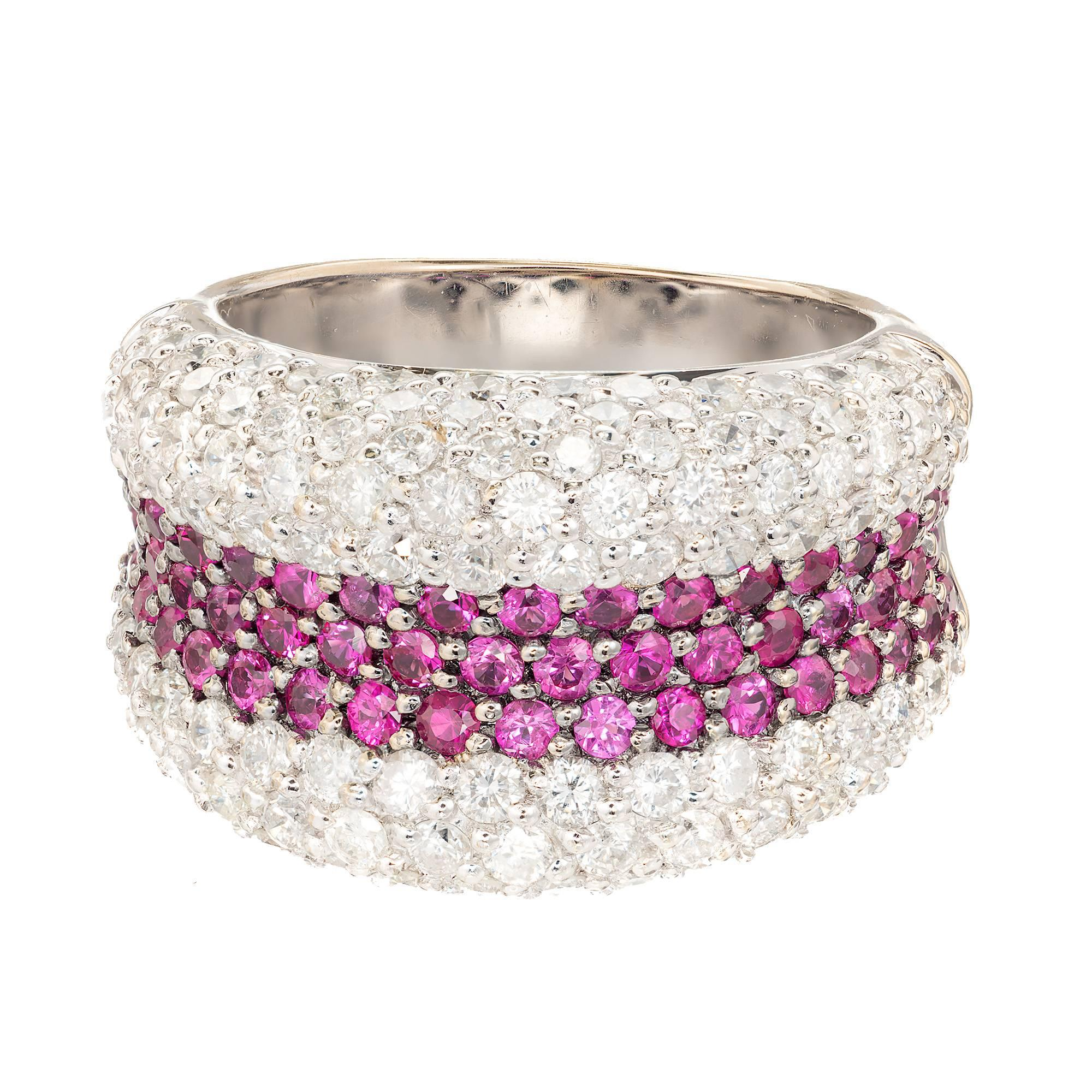 Sonia B Ruby Diamond Gold Dome Cocktail Band Ring