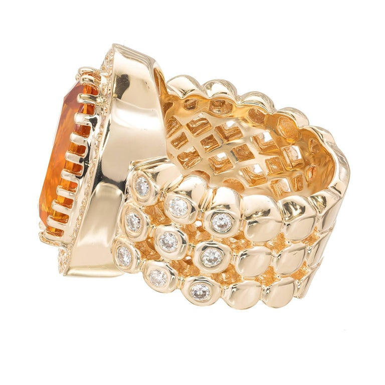 Women's Sonia B Citrine Diamond Gold Cocktail Ring For Sale