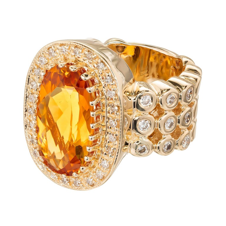 Authentic Sonia B golden yellow Citrine and bright white diamond large 14k gold cocktail ring.  1 oval fine Citrine 15.5 x 10 x 5.8mm, approx. total weight 6.0cts 44 full cut diamonds approx. total weight .71cts, G, VS2-SI1 Size 6 1/2 and