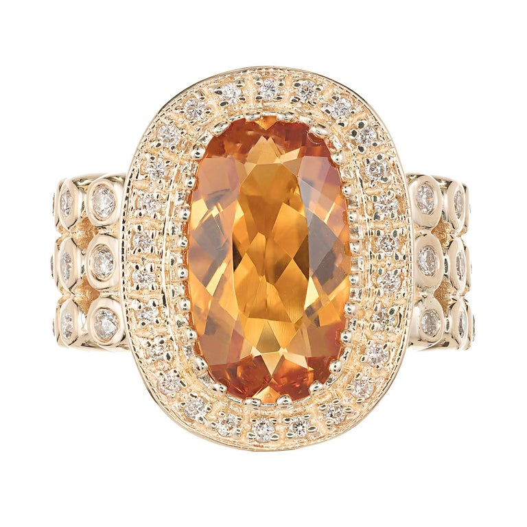 Sonia B Citrine Diamond Gold Cocktail Ring For Sale