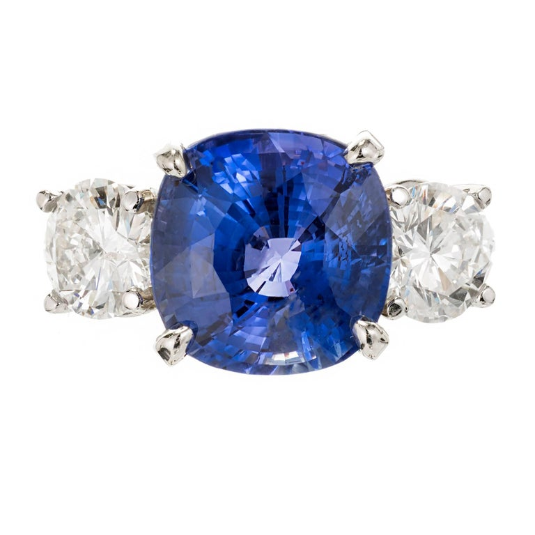 Peter Suchy 7.72 Carat Natural Sapphire Diamond Platinum Engagement Ring