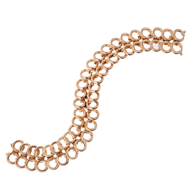 Art Deco Rose Gold Two-Row Wide Circle Link Bracelet