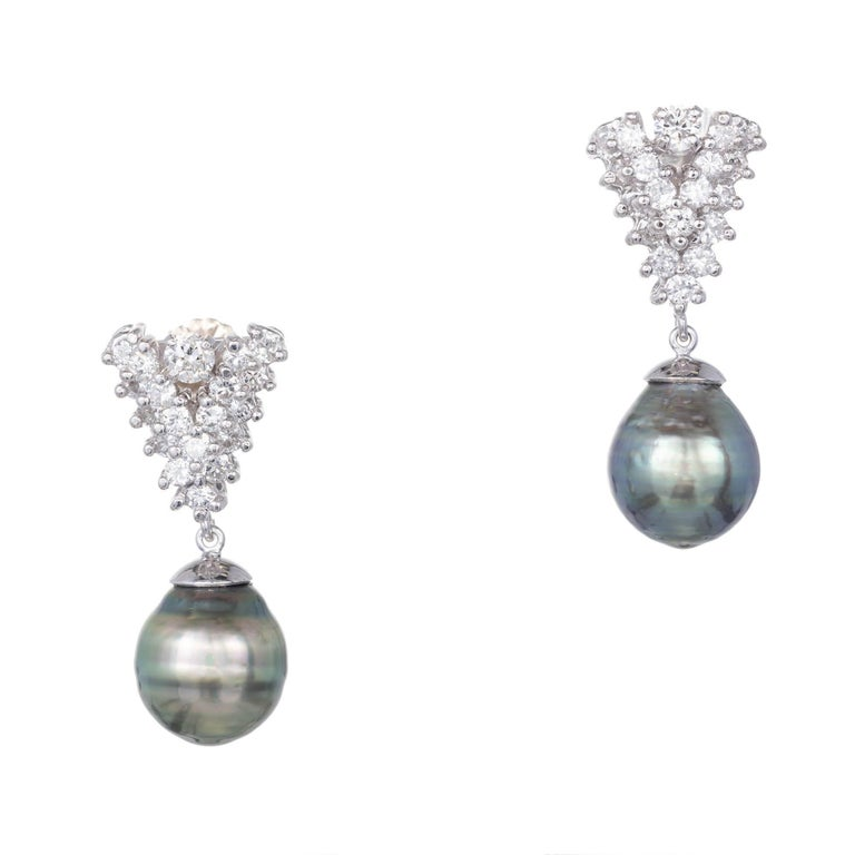 1.60 Carat Black South Sea Baroque Pearl Diamond Gold Dangle Earrings
