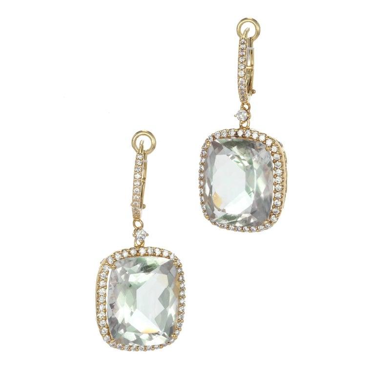 15.70 Carat Blue Green Quartz Diamond Gold Dangle Earrings