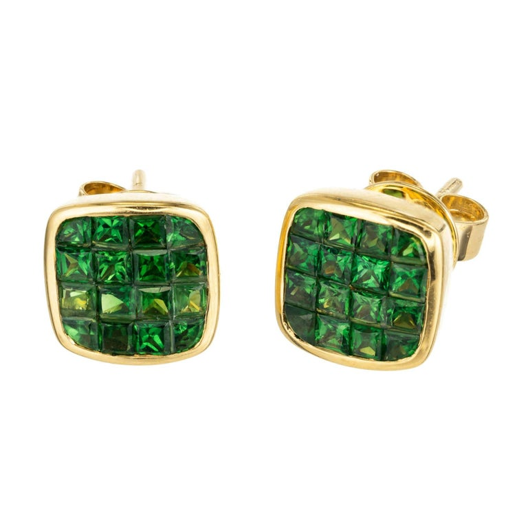 1 62 Carat Green Square Tsavorite Garnet Yellow Gold Stud Earrings For
