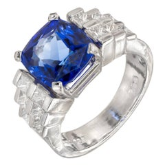 Peter Suchy 6.38 Carat Blue Tanzanite Princess Diamond Platinum Engagement Ring