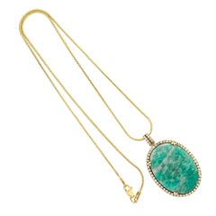 Amazonite Diamond Halo Gold Pendant Necklace