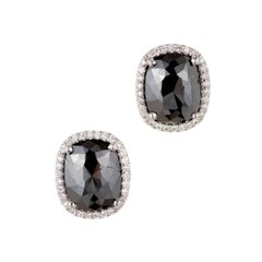 GIA Certified Peter Suchy 2.64 Carat Black Diamond Halo Gold Earrings